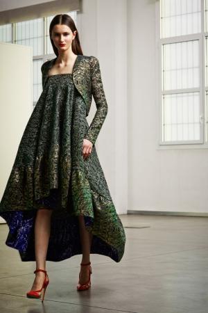 pre-fall-2014-antonio-berardi-green-asymetric-dress