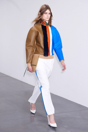 Celine-fall-winter-2012-2013-leather-mixed-sweater-white-pants-with-light-blue-stripes
